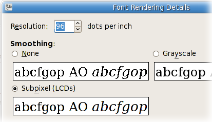 GNOME font properties