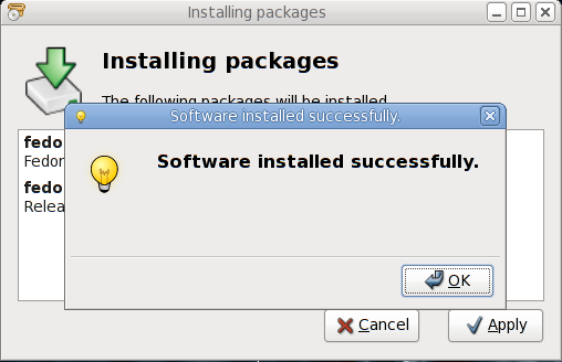Finished installation of Fedora packages