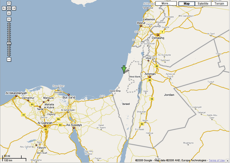 Google Maps details of Israel